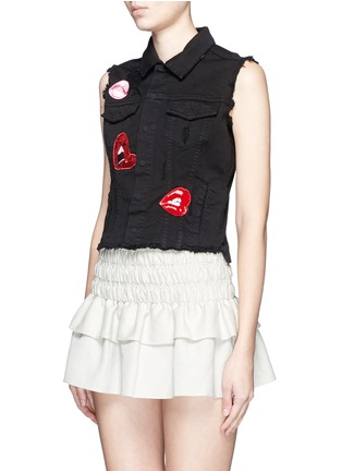 Front View - Click To Enlarge - Giamba - Mix lip appliqué sleeveless denim vest