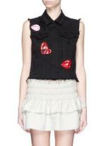 Mix lip appliqué sleeveless denim vest