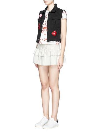 Figure View - Click To Enlarge - Giamba - Mix lip appliqué sleeveless denim vest