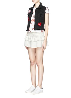 GIAMBA Mix lip appliqué sleeveless denim vest