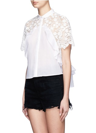Front View - Click To Enlarge - Giamba - Floral embroidery lace frill cotton shirt