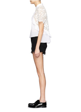 Figure View - Click To Enlarge - Giamba - Floral embroidery lace frill cotton shirt