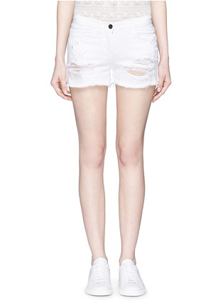 Giamba - Butterfly appliqué ripped fray denim shorts