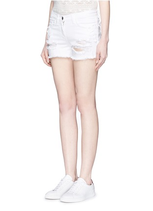 Front View - Click To Enlarge - Giamba - Butterfly appliqué ripped fray denim shorts