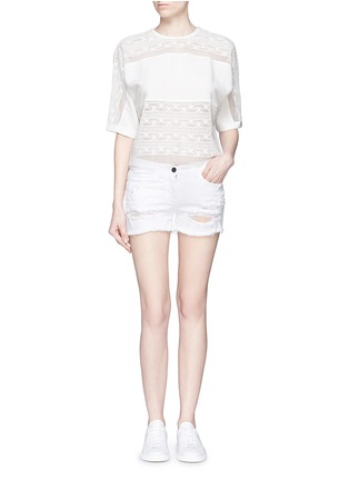 Figure View - Click To Enlarge - Giamba - Butterfly appliqué ripped fray denim shorts