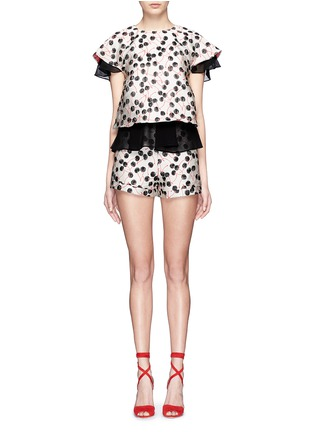 Giamba-Cherry jacquard high waist shorts