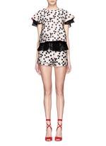 Cherry jacquard high waist shorts