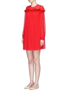 GIAMBAFlower appliqué plissé pleat georgette dress