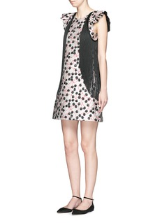 GIAMBARuffle sleeve cherry jacquard dress