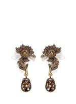 Swarovski crystal floral drop clip earrings