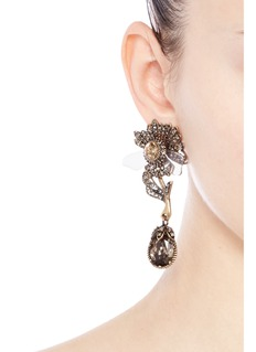 ALEXANDER MCQUEEN Swarovski crystal floral drop clip earrings