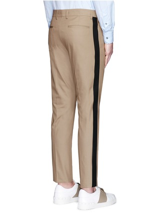 Back View - Click To Enlarge - Valentino - Tuxedo stripe cotton Cavalry twill pants