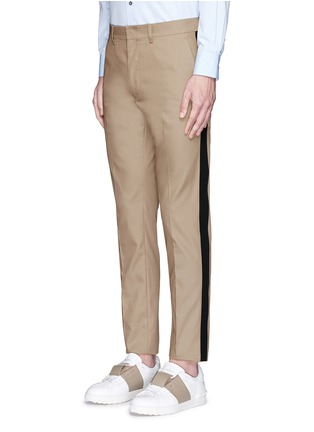 Front View - Click To Enlarge - Valentino - Tuxedo stripe cotton Cavalry twill pants