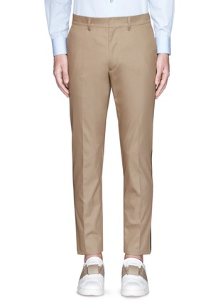 Main View - Click To Enlarge - Valentino - Tuxedo stripe cotton Cavalry twill pants