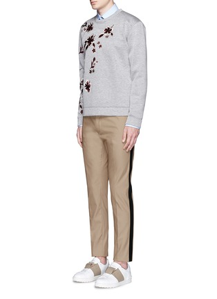 Figure View - Click To Enlarge - Valentino - Tuxedo stripe cotton Cavalry twill pants