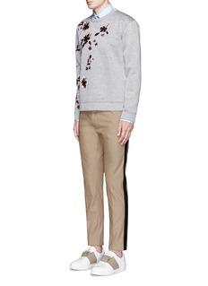 ValentinoTuxedo stripe cotton Cavalry twill pants