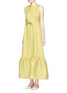 VALENTINOSilk gazar peplum sleeveless maxi dress