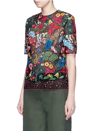 Front View - Click To Enlarge - Valentino - 'Water Song' floral embroidery macramé lace top