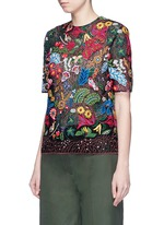 'Water Song' floral embroidery macramé lace top