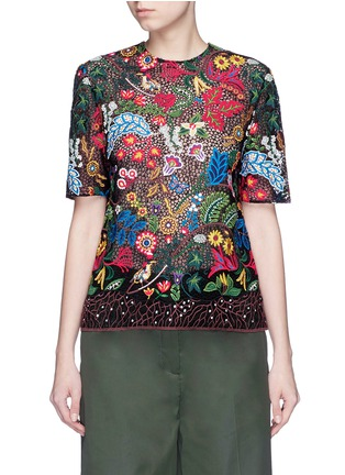 Main View - Click To Enlarge - Valentino - 'Water Song' floral embroidery macramé lace top