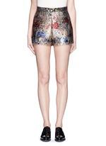 Metallic floral jacquard shorts