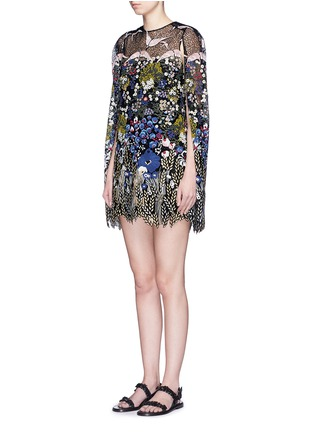 Figure View - Click To Enlarge - Valentino - Bird landscape embroidery macramé lace cape dress