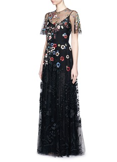 VALENTINOFloral embroidery bead appliqué tulle gown
