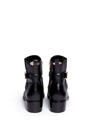 Back View - Click To Enlarge - Michael Kors - 'Bryce' logo buckle strap leather boots