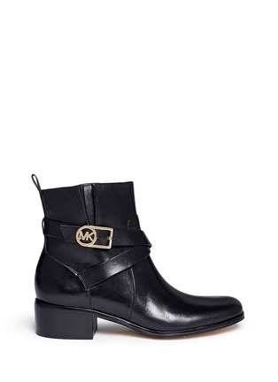 Main View - Click To Enlarge - Michael Kors - 'Bryce' logo buckle strap leather boots