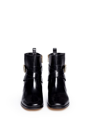Figure View - Click To Enlarge - Michael Kors - 'Bryce' logo buckle strap leather boots