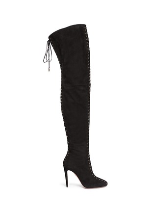 Main View - Click To Enlarge - Aquazzura - 'Corset Cuissard' suede lace-up thigh high boots