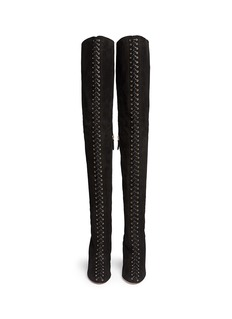 AQUAZZURA'Corset Cuissard' suede lace-up thigh high boots