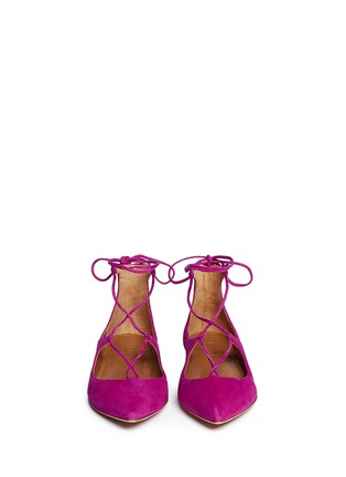 Figure View - Click To Enlarge - Aquazzura - 'Christy' suede lace-up skimmer flats
