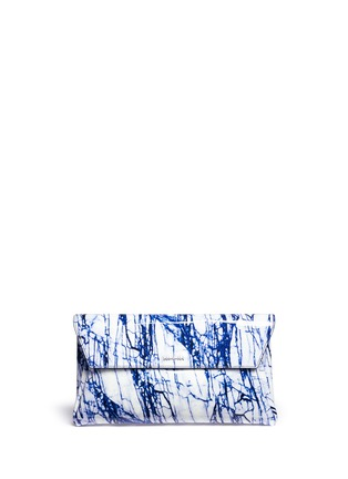 Main View - Click To Enlarge - McQ Alexander McQueen - 'Risk' marble print patent leather clutch