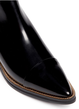 Detail View - Click To Enlarge - MC Q SHOES - 'Redchurchill' metallic heel brushed leather Chelsea boots