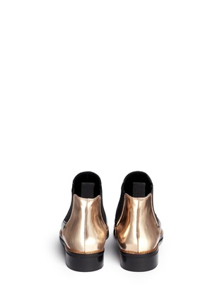 Back View - Click To Enlarge - MC Q SHOES - 'Redchurchill' metallic heel brushed leather Chelsea boots