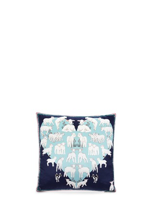 Main View - Click To Enlarge - Silken Favours - Sheep print silk cushion