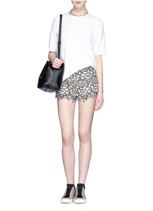 Figure View - Click To Enlarge - alice + olivia - Embroidery lace high waist shorts
