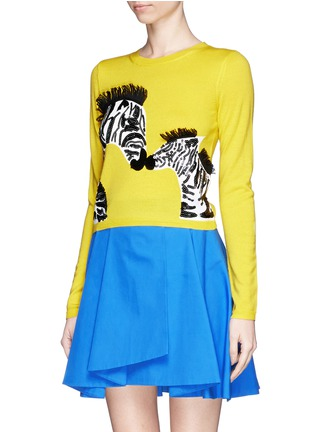 Front View - Click To Enlarge - alice + olivia - 'Khan' zebra appliqué cropped sweater