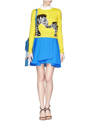Figure View - Click To Enlarge - alice + olivia - 'Khan' zebra appliqué cropped sweater