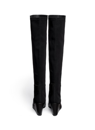 Back View - Click To Enlarge - Stuart Weitzman - '5050' elastic-back nappa long wedge boots