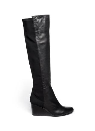Main View - Click To Enlarge - Stuart Weitzman - '5050' elastic-back nappa long wedge boots