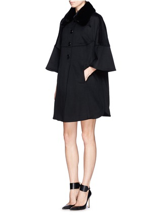 Figure View - Click To Enlarge - Armani Collezioni - Rabbit fur collar wool coat