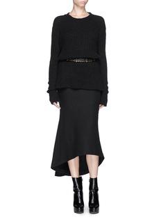 HAIDER ACKERMANN'Serlupi' asymmetric leather panel skirt
