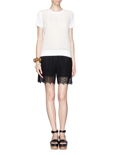 CHLOÉEyelet guipure lace front knit top