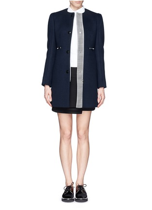 STELLA MCCARTNEY - Glen plaid placket trim felt coat