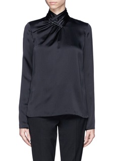 JASON WU Textured silk metal clasp shirt