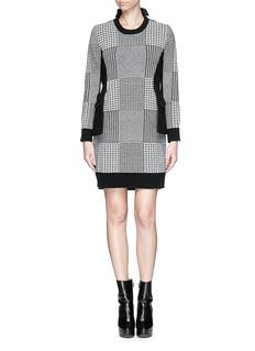 SACAIFelt blazer panel houndstooth knit dress