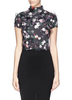 TANYA TAYLOR'Toto' stand collar floral wishi organza blouse
