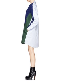 SACAIWool cable knit panel poplin shirt dress